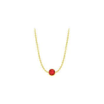 Diamond By The Yard GF Bangkok Ruby Necklace on 14K Yellow Gold Bezel Set 1.00 ct.tw