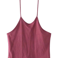Burgundy Halter Backless Cropped Cami Top