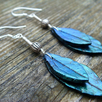 Blue Leaf Earrings  Blue and Green Polymer Clay by JustClayin