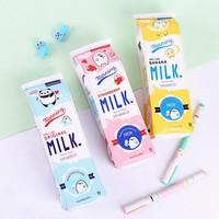 P62 Kawaii Creative Fruit Milk Carton Design Pencil Bag  PU Waterproof School Supply Student Stationery Big Storage Kids Gift