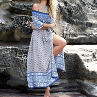 Women's Horizontal Neck Bohemian Printing Lateral Split Dress