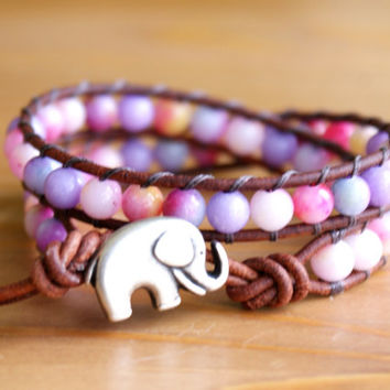 Bohemian beaded leather wrap bracelet, gemstones, Pink, Lavender Jade mix, Good Luck charm, silver elephant, trendy boho chic, hipster