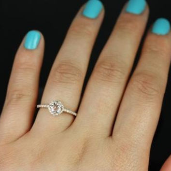 Kitana Ultra Petite Size 14kt Rose Gold Morganite and Diamonds Cushion Halo Engagement Ring (Other Stone and Metals Available)