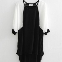 Chiffon, Cotton Black Long Chiffon Sleeve Round Neck Mixed Color Irregular Sweaters  ( color) style 1631449 in  Indressme