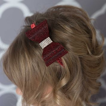 Burgundy hair bow - red glitter elastic headband