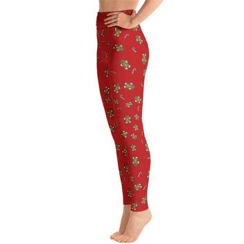 Christmas Gingerbread Man Candy Cane Leggings