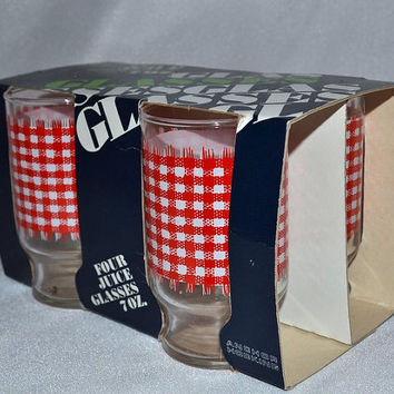 Vintage Juice Glasses Anchor Hocking Red Whited Checkered - Set of 4 in Original Package