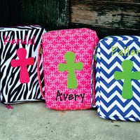 PERSONALIZED Bible Book Cover - Monogram - Baptism Gift - Zebra - Chevron - Crosslink