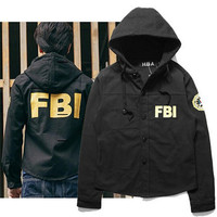 American Hiphop FBI Letter Print Jacket Coat Couple Tide Brand HBA Men's Hoodies Windbreaker Men New Streetwear