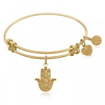 ac NOVQ2A Expandable Bangle in Yellow Tone Brass with Hamsa Hand Symbol