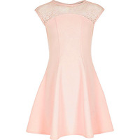 River Island Girls pink lace panel skater dress
