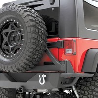 """Smittybilt Rear SRC Bumper with 2"""" Receiver & Swing Away Tire Carrier in Textured Black   Jeep Parts and Accessories   Quadratec"""