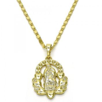 Gold Layered 04.26.0016.18 Fancy Necklace, Guadalupe and Flower Design, Polished Finish, Golden Tone