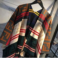 FENDI Autumn Winter Newest Fashion Women Color Matching Stripe FF Letter Jacquard Cloak Cape Type Coat