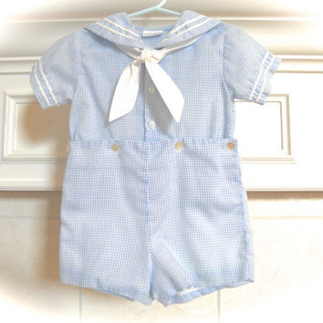 Baby Boy Sailor Suit All in One Clothing 12 to 18 Month Gingham Nautical Jumper Weddings