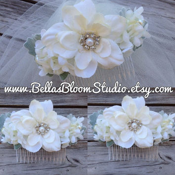 Bridal headpiece flower, bridal hair clip, wedding hair comb, rustic wedding hairpiece, Cream Flower Hairpiece, Ivory bridal flower  etsy