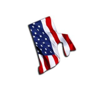 Rhode Island Waving USA American Flag. Patriotic Vinyl Sticker