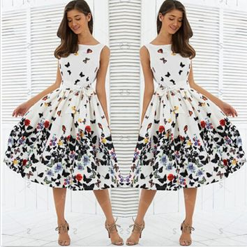 Fasshion Women Sexy Summer Sleeveless DRESS Vintage Pleat Swing Printing Butterfly Retro Housewife Floral Dresses