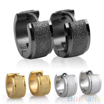 1 Pair Men's Women's Titanium Steel Dull Polish Hoop Huggie Earrings Ear Studs 4PSZ