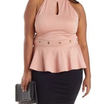Plus Size Nude Pink Grommet-Trim Peplum Halter Top by Charlotte Russe
