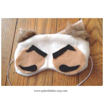 Grumpy Sleep Mask.  Naps, headaches or for the spa. Elastic goes around head. Soft Snuggle Masks. Great for Travel.  Cotton.