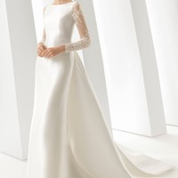 Rosa Clará Doreen Column Gown with Detachable Train | Nordstrom