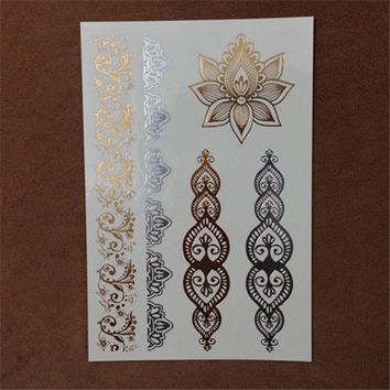 1sheet new Indian Arabic designs golden silver flash tribal henna tattoo paste metali metal tatoo sticker sheets on body hand