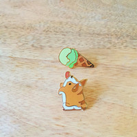 Corgi and Ice Cream Pin Set