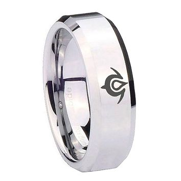 10MM Beveled Naga Design Mirror Beveled Edges Silver Tungsten Carbide Ring