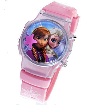 "Frozen "" Anna and Elsa"" Light Pink Flip Top Digital Plastic Watch w/ Floating Star and Lights"