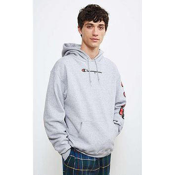 Champion autumn and winter tide brand couple embroidery letters loose hoodie Grey