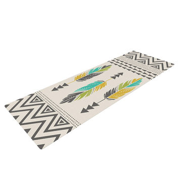 "Amanda Lane ""Painted Feathers Cream"" Tan Tribal Yoga Mat"