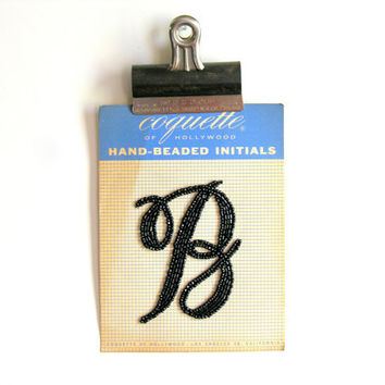 Hand Beaded Initial B Vintage Coquette of Hollywood Black Beads Monogram Applique Personalized Sweater Trim