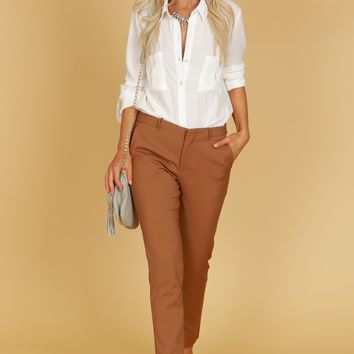 Straight Leg Trousers Dark Mocha