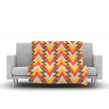 "Julia Grifol ""My Triangles in Red"" Orange Brown Fleece Throw Blanket"