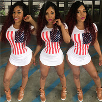 Fashion national flag printed tight dress