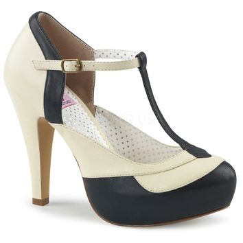 Pin Up Couture Bettie-29 Black and Cream T-strap Heels