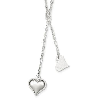 Sterling Silver 17 Inch Polished & Textured Puffed Heart Fancy Drop Necklace