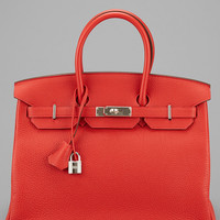 Some of you have to get in on this: Hermes Red Garance Clemence Leather Birkin 35cm PHW (Never Carried)