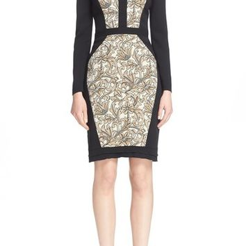 Etro Floral Brocade Panel Sheath Dress | Nordstrom
