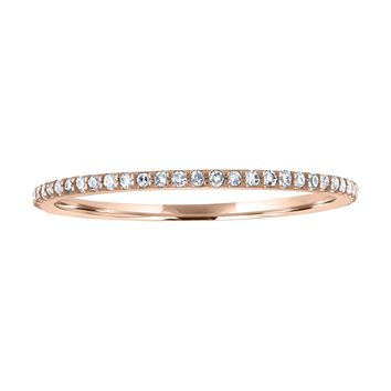 JewelMore 1/10 cttw 14k Gold Dainty Half Band Natural Diamond Wedding