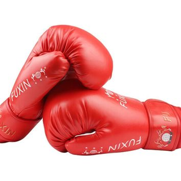 Simple Boxing Fighting Gloves Household Training Gloves RED, 10 Ounce