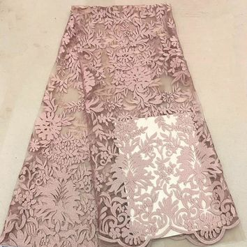 High Quality Nigerian Wedding Lace Fabric Pink Latest African Laces 2018 French Net Lace Fabric With Sequins for Dress  G160-1