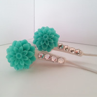 Sweet Teal Dahlia Flower Earbuds with Swarovski crystals