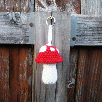 Red Mushroom Toadstool Crochet Plush Keychain, ready to ship.