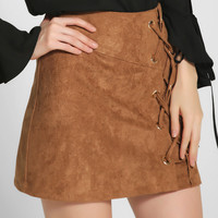 Sexy High Waist Suede Lace Up Bodycon Short Skirt