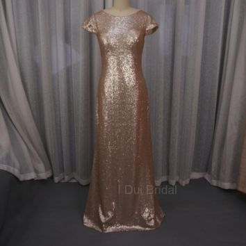 Sequin Cowl Back Bridesmaid Dresses Sheath Champagne Rose Gold Wedding Maid of Honor