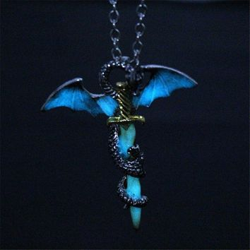 Game of Thrones Dragon Sword Luminous Necklace Targaryen Glow in Dark Pendants
