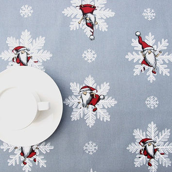Christmas tablecloth grey silver white snowflakes Elfs Tomte ,also napkins , runner , curtains , pillows available, great GIFT