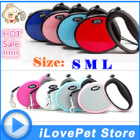 2017 BEST Pet Dog Leash Retractable dog Collar leash Products Dog Harness Dele Pet Dog Chain Collars Led 25kg-40kg Red Girl